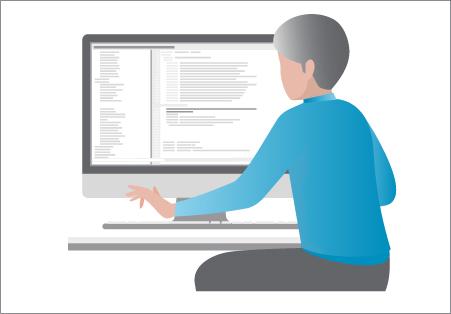 illustration homme derrière son logiciel de paie autonome
