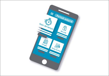 écran d'application de téléphone portable d'un portail salarié